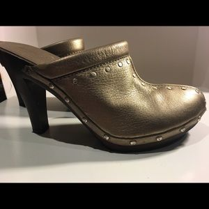 Shoes - Michael Kors gold leather clogs/wood